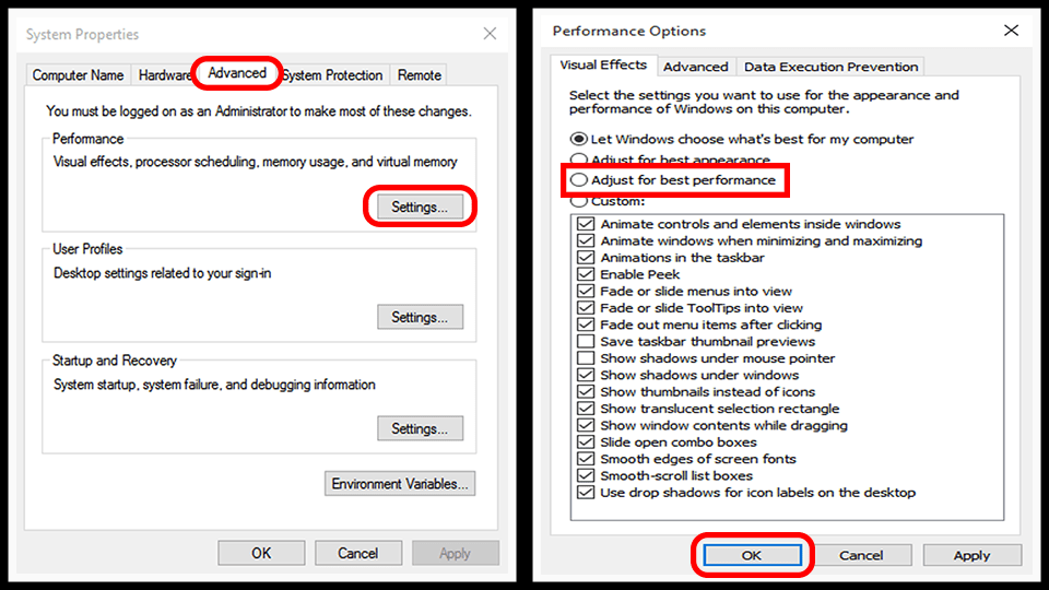 6 Fixes To Speed Up Old System Running On Windows 10 - Disable visual effects