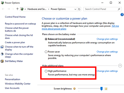 6 Fixes To Speed Up Old System Running On Windows 10 - Run Windows on high performance mode