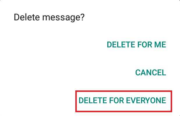 WhatsApp - delete sms for everyone