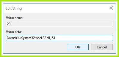 Windows 10 Registry Editor - input new string value for hiding shortcut arrows