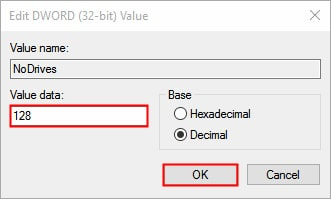 Hide Entire Drive Partition Using Windows 10 Registry Editor- DWORD value