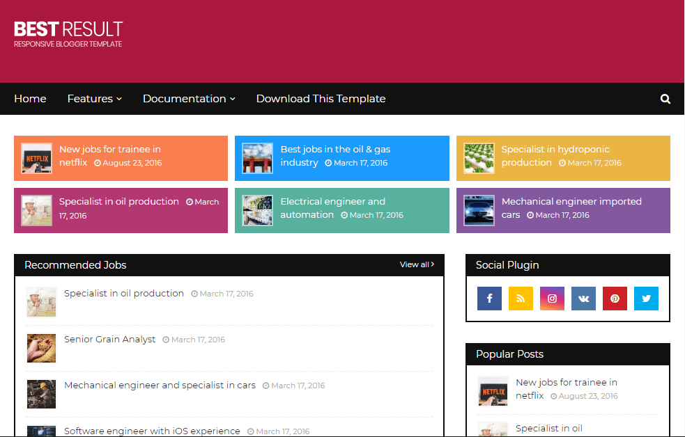 Best Result- Free and Responsive Job Listing Blogger Template