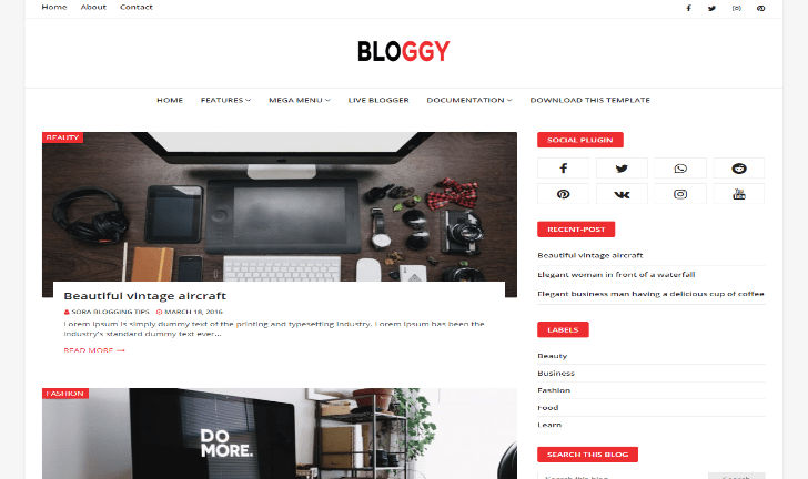 Bloggy free responsive blogger template-new, magazine and personal blog 1