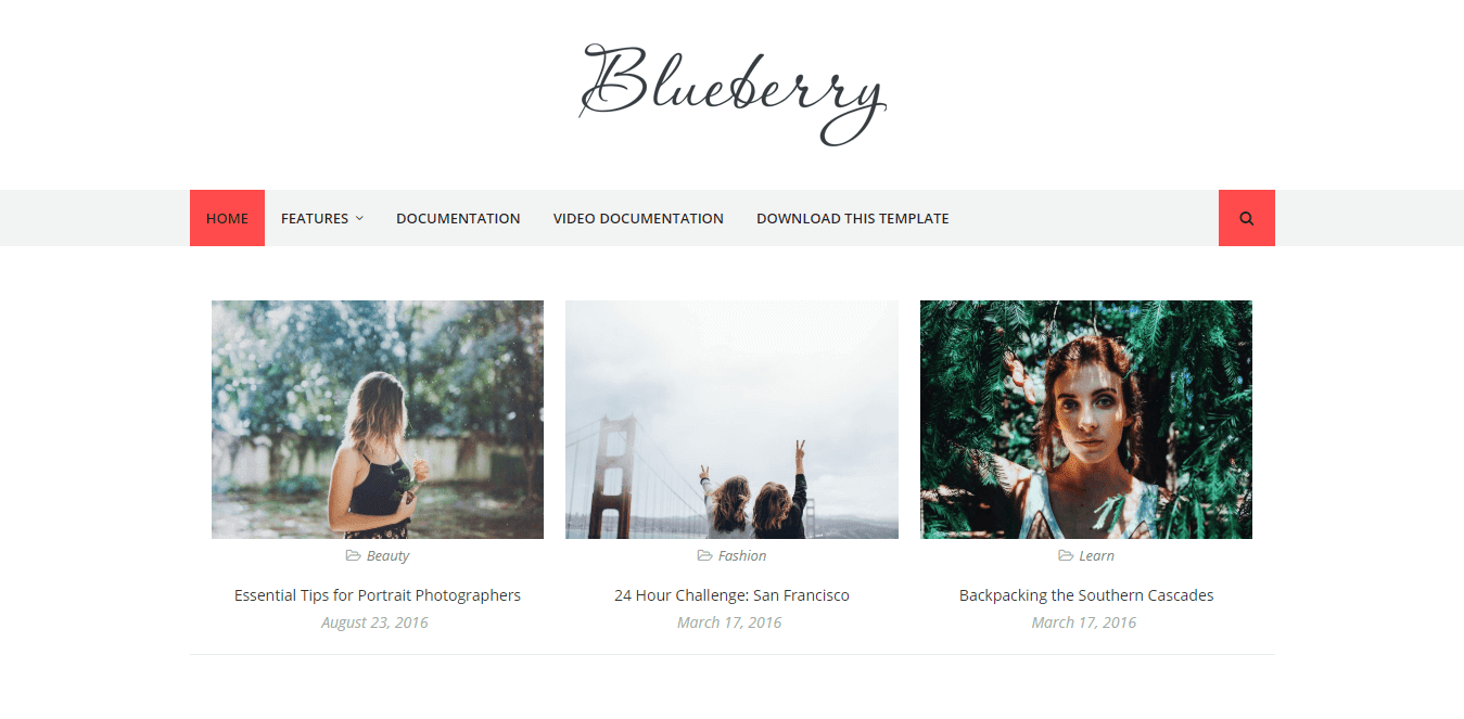 Blueberry free responsive blogger template-new, magazine and personal blog