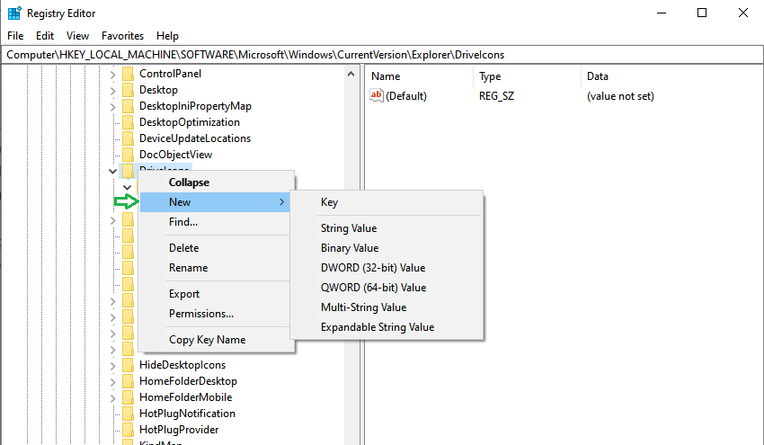Change Local Drive Icon Using Windows 10 Registry Editor-Create new key with the drive name