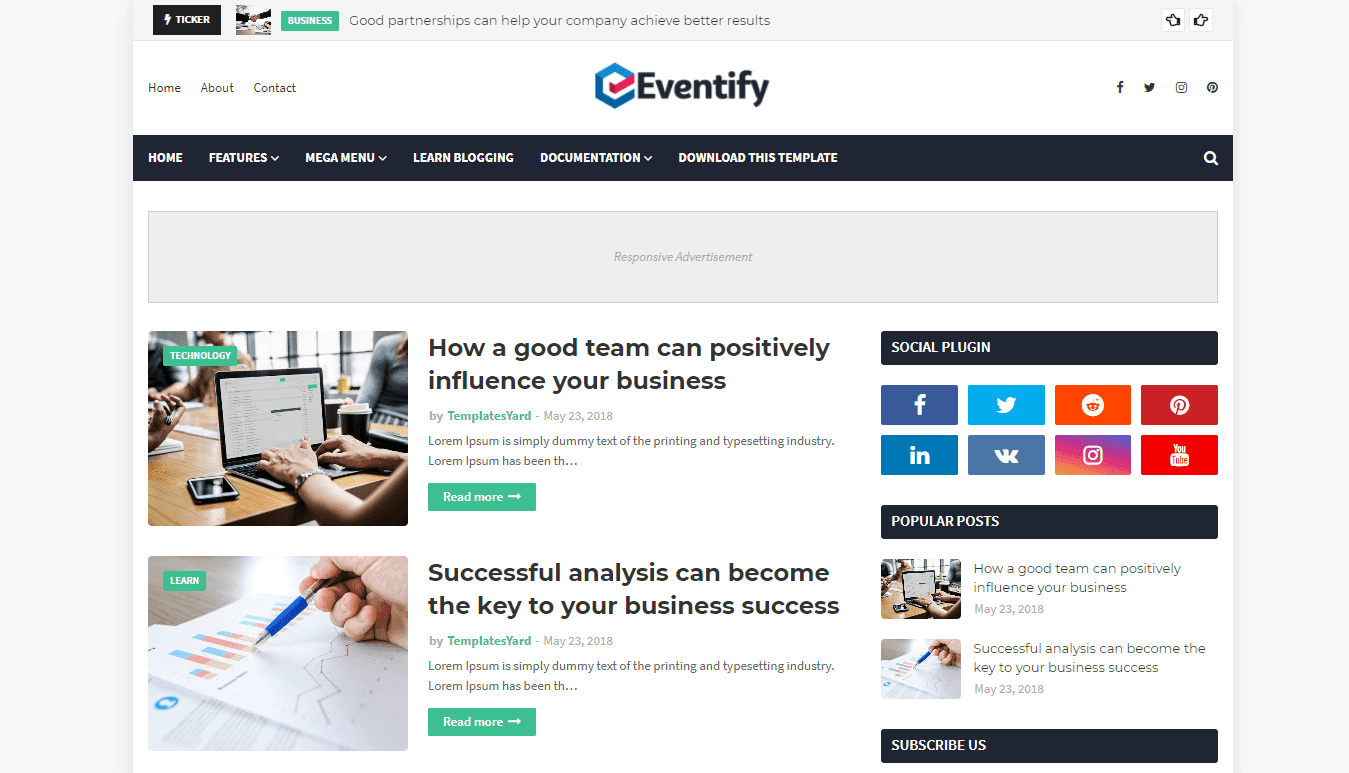 Eventify free responsive blogger template-new, magazine and personal blog
