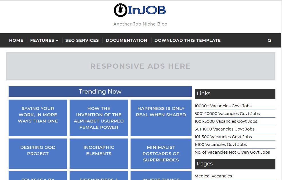 InJob- Free and Responsive Job Listing Blogger Template