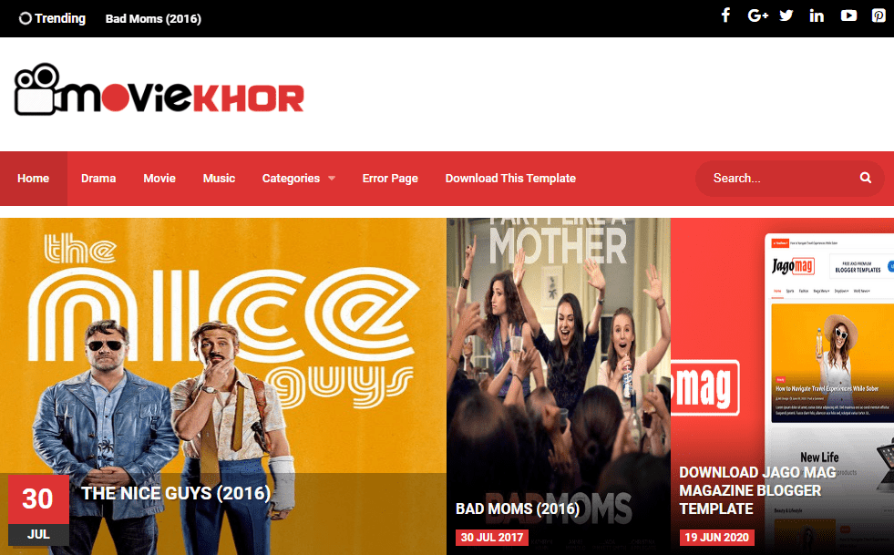 Moviekhor Blogger Template- free and responsive Video and Movie Review Blogger Template