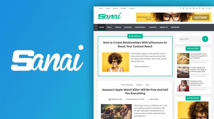 Sanai free responsive blogger template-new, magazine and personal blog
