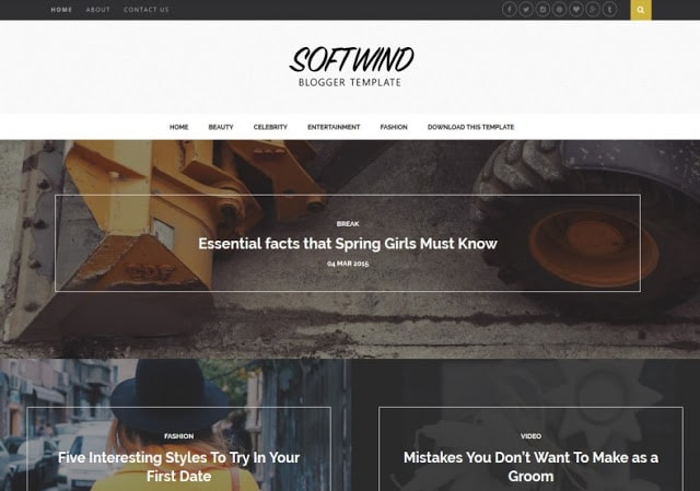 SoftWind free responsive blogger template-new, magazine and personal blog