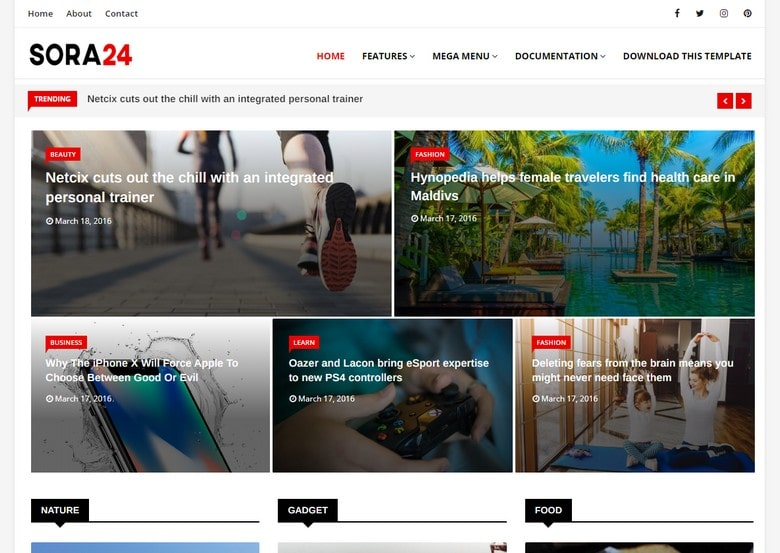 Sora24 free responsive blogger template-new, magazine and personal blog
