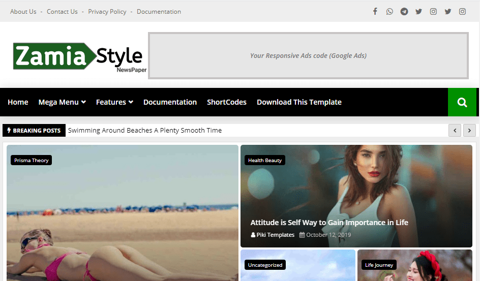 Zamia Style free responsive blogger template-new, magazine and personal blog