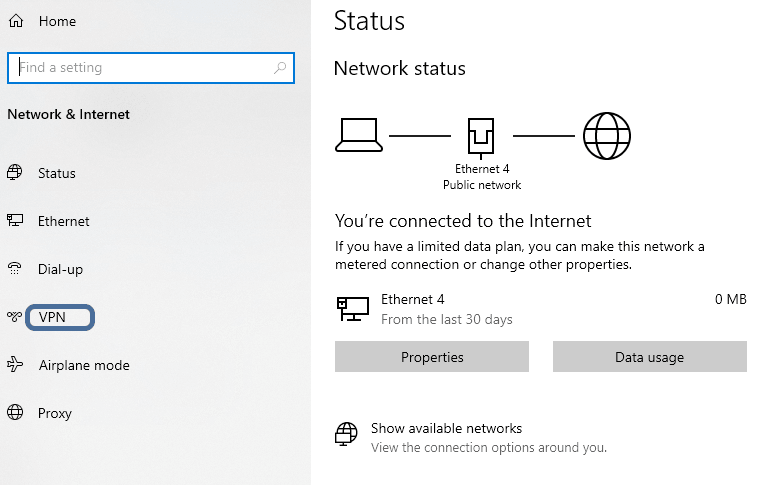 Setting Up VPN Connection On Windows 10 Using PPTP And OpenVPN Protocol- Settings-Network & Internet-VPN