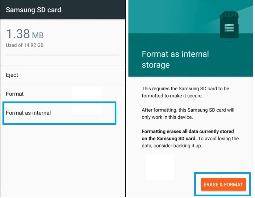 Format as internal storage