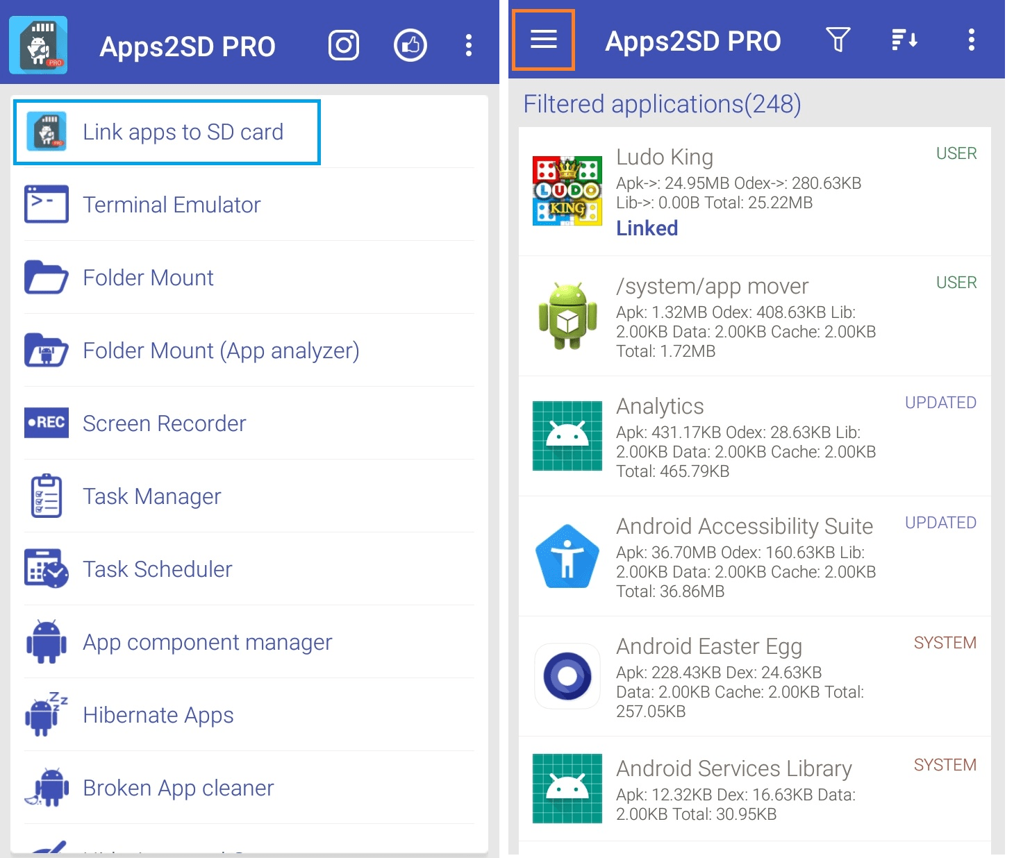 Link apps to SD card